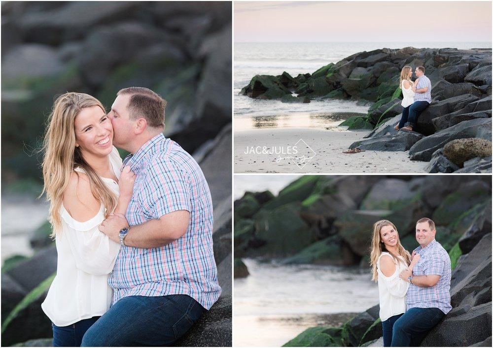 Fun beach engagement photos on the Jetty in Asbury Park, NJ.