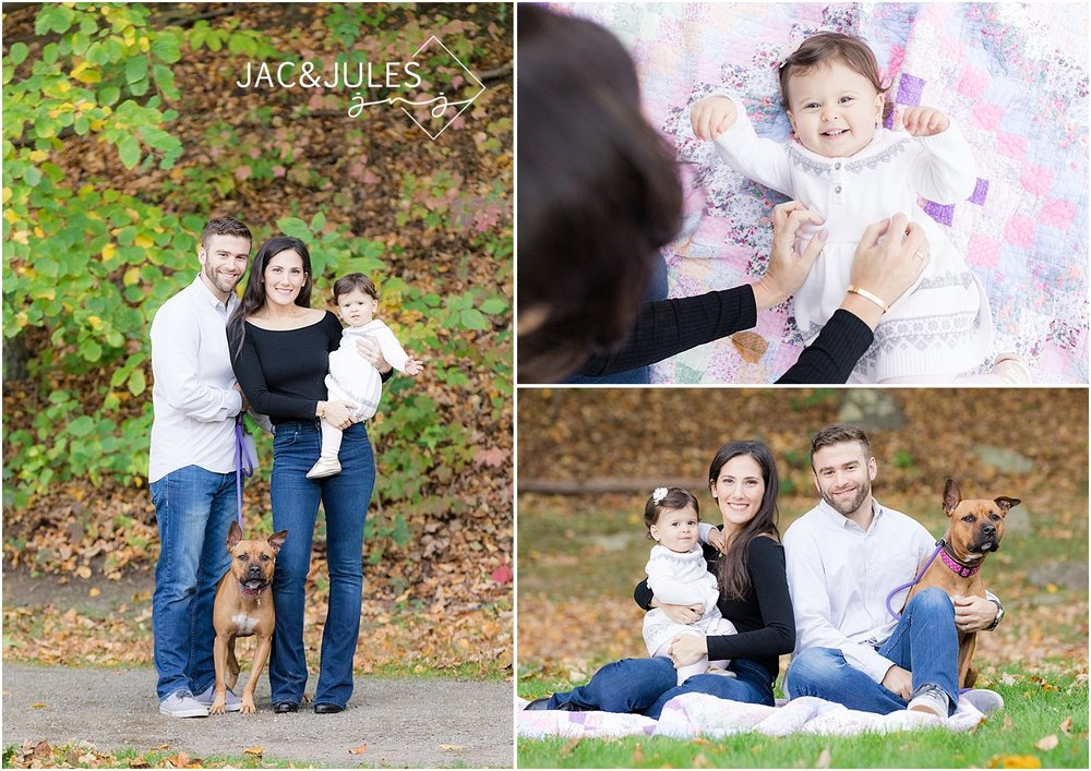family pictures with a dog in Boonton, NJ