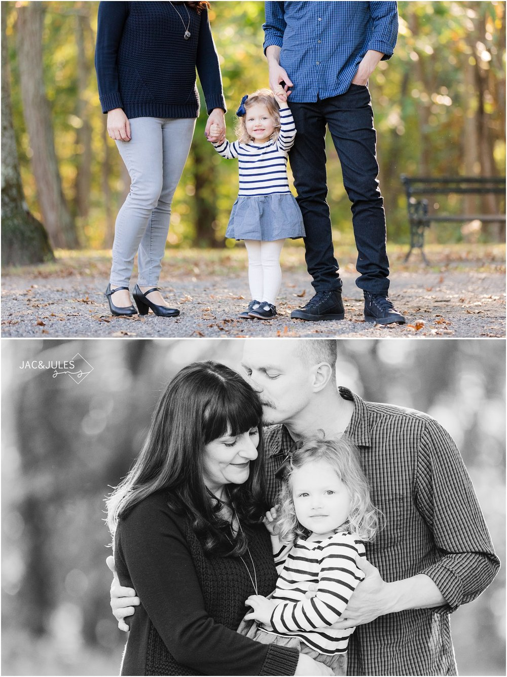Intimate fall family photos at Allaire State Park in Wall, NJ.
