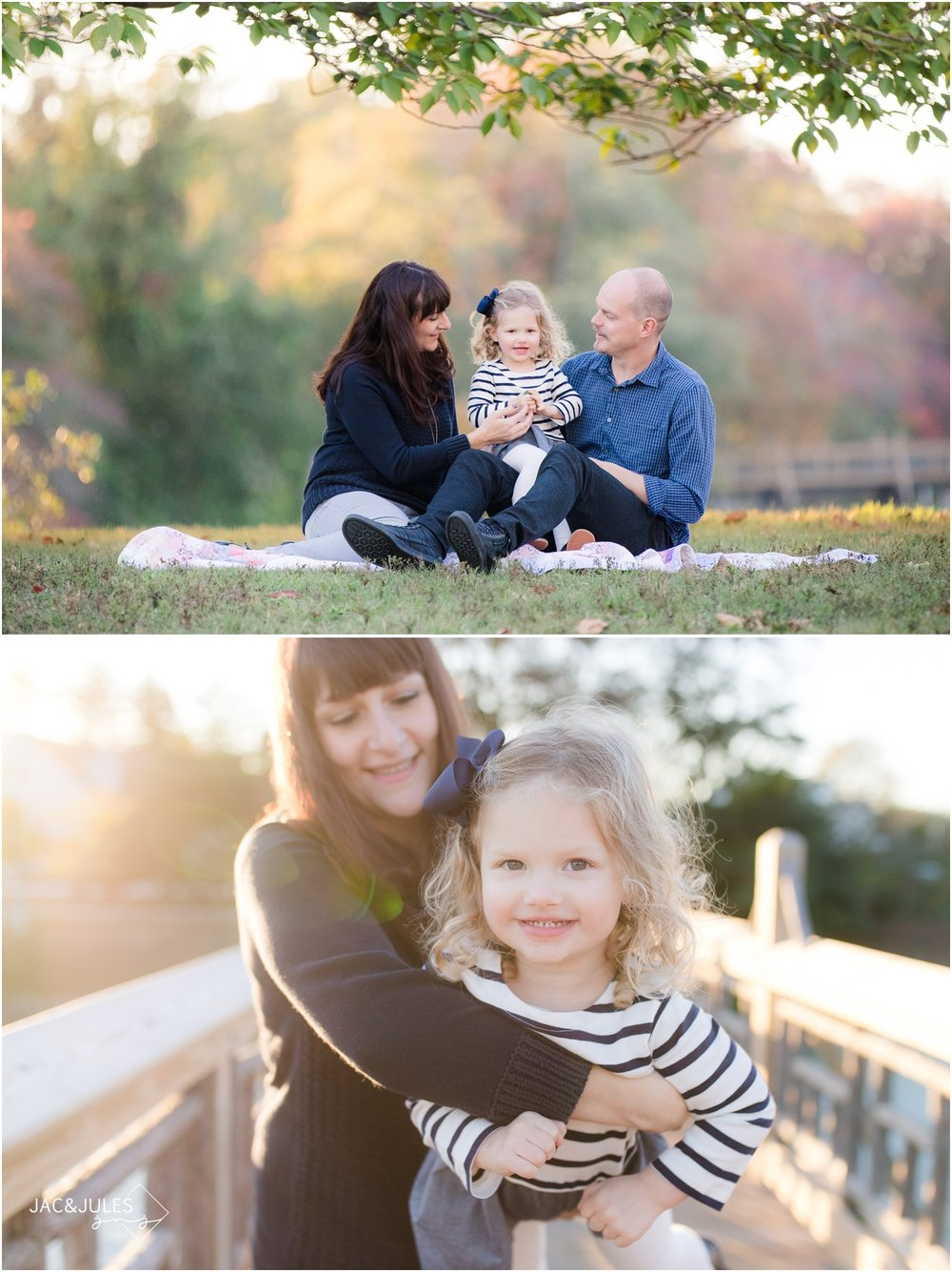 funny photos of family interacting for fall photos at Divine Park in Spring Lake, NJ.