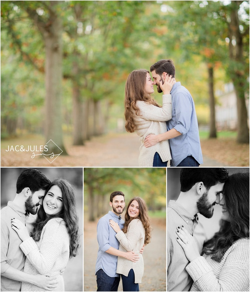 fall engagement photos at allaire state park nj