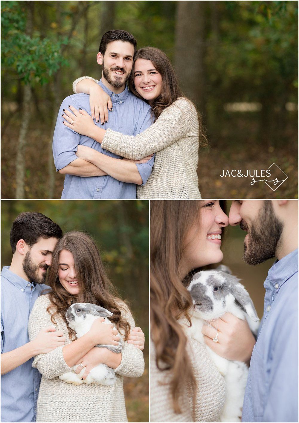 engagement pictures with a bunny