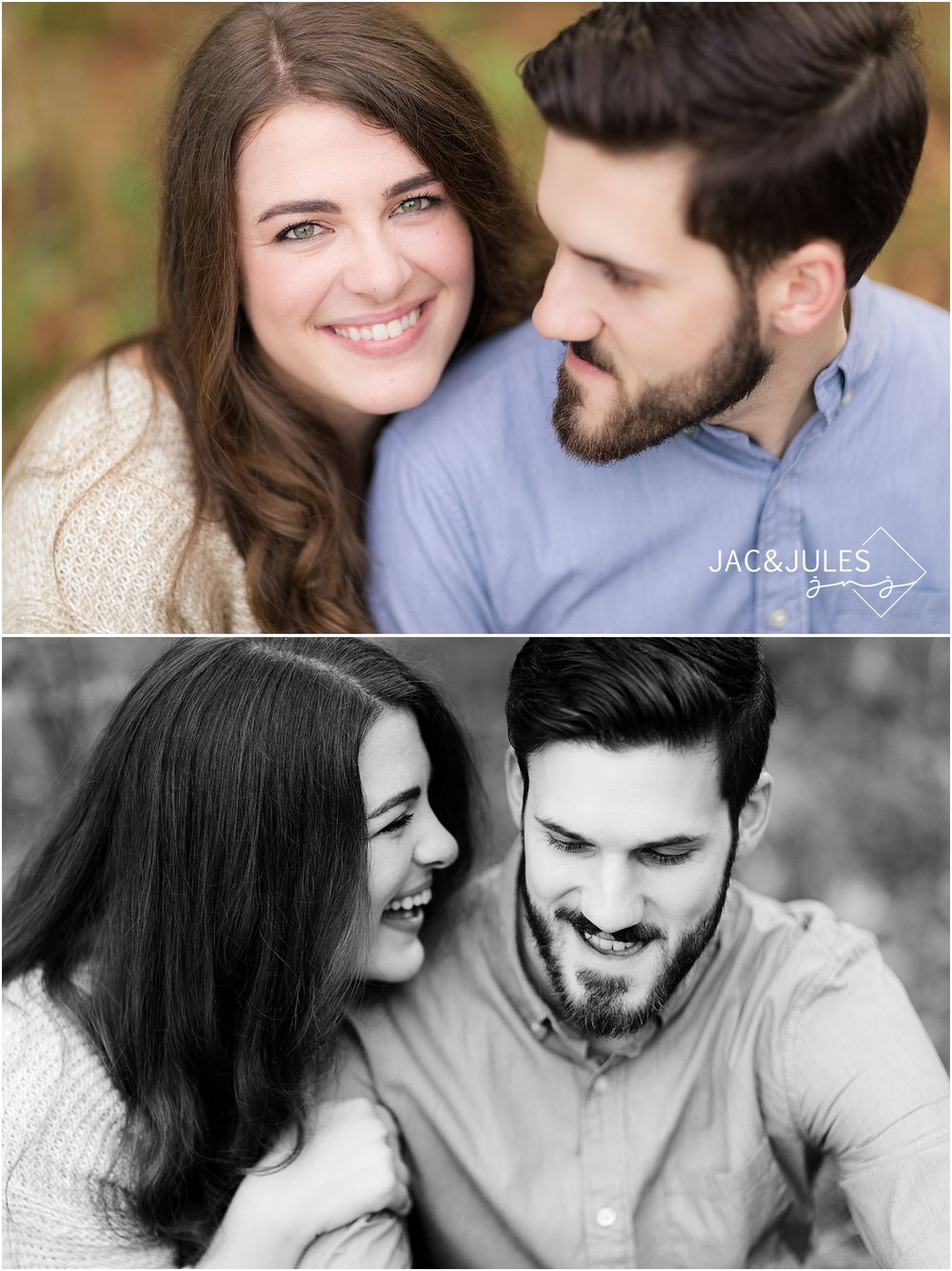 allaire state park engagement photo in the fall