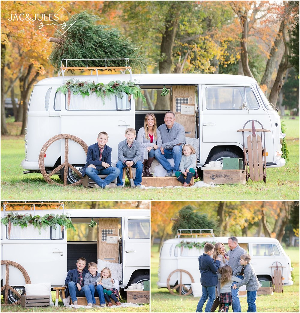 family christmas pictures in howell nj with a vw bus