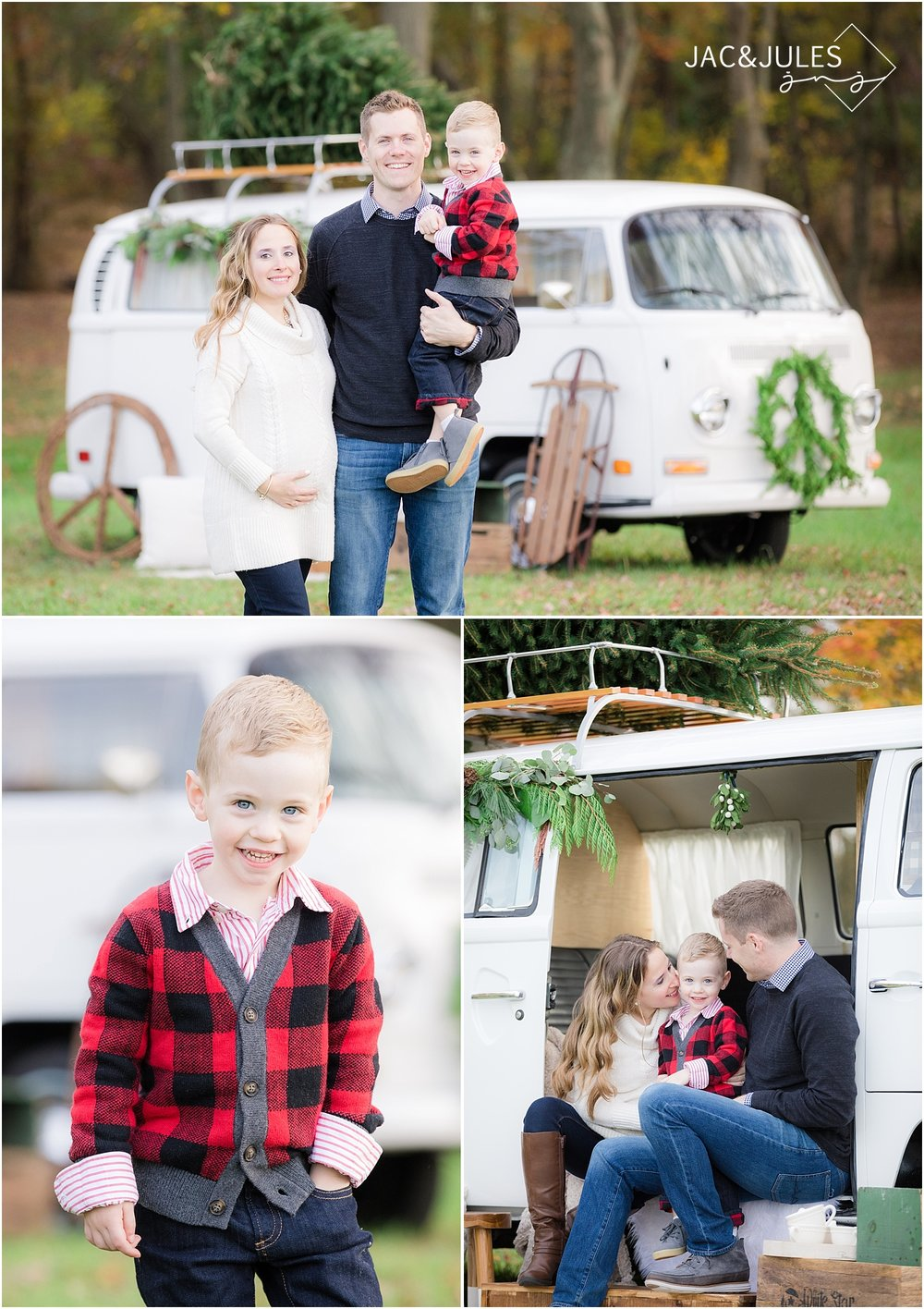 jacnjules photographs family christmas photo with a vintage vw bus in nj