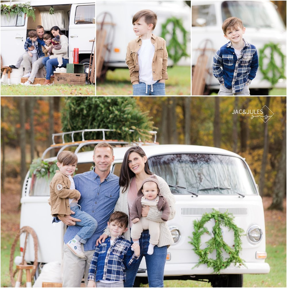 Holiday photo of the family behind VW Booth Bus at Patterson Greenhouses in Freehold, NJ.
