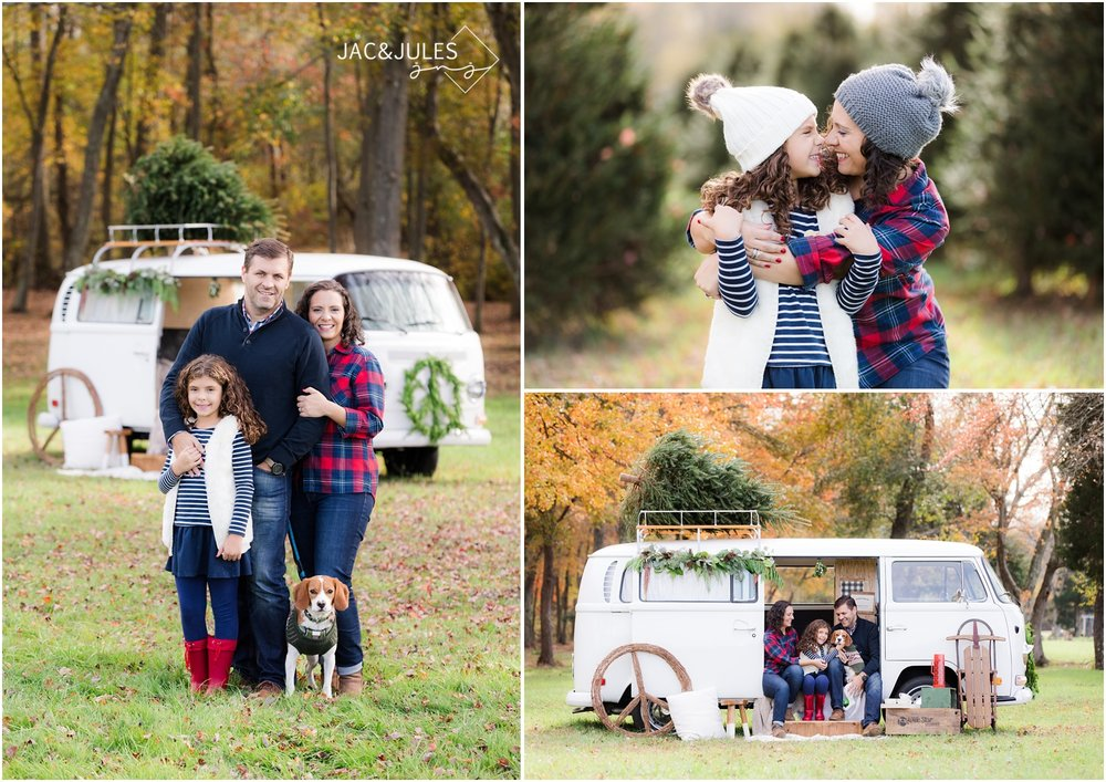 sweet family holiday photos with cute puppy and vintage VW bus in Freehold, NJ.