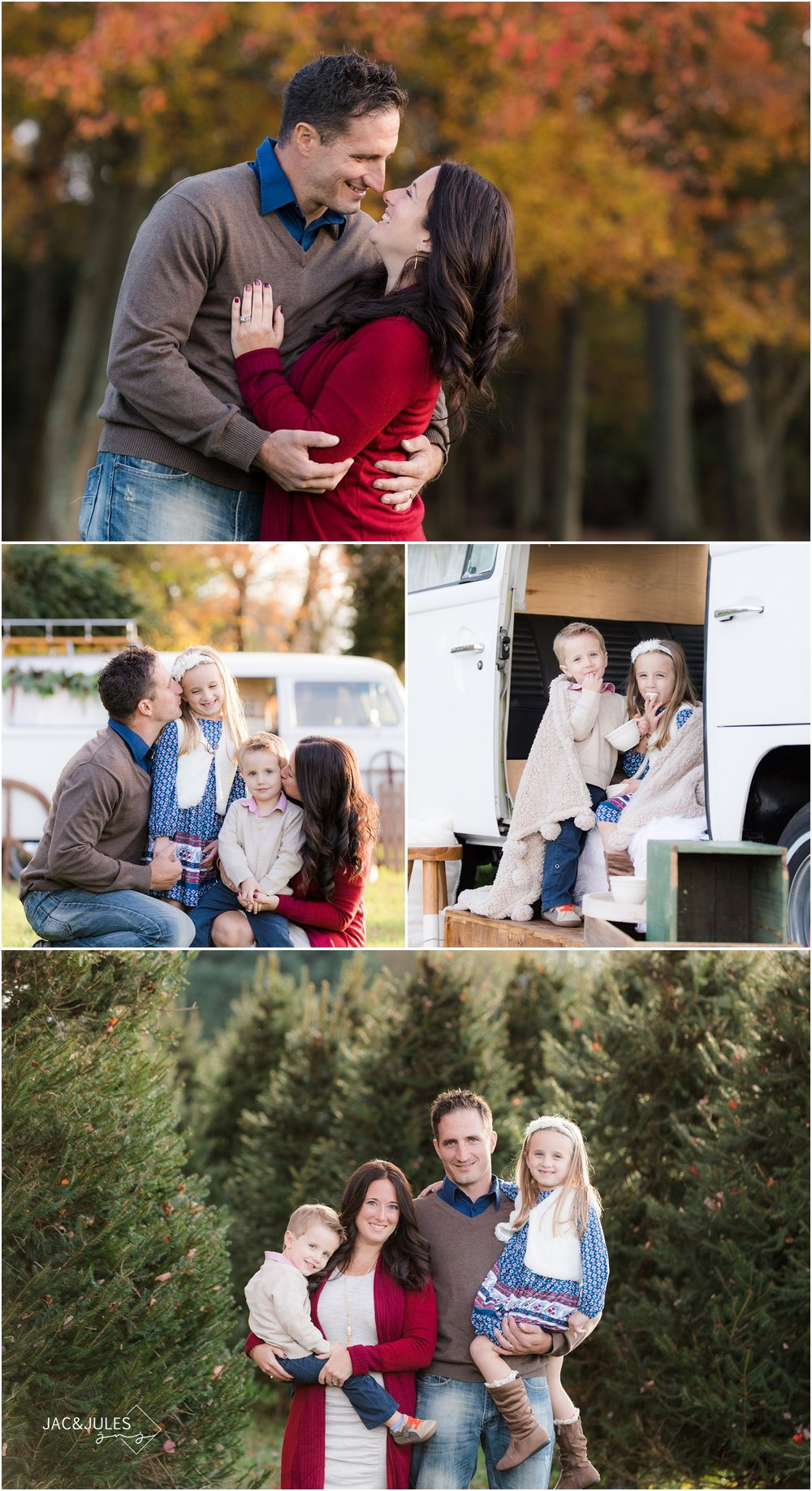 fun family holiday photos with vintage VW bus in Freehold, NJ.