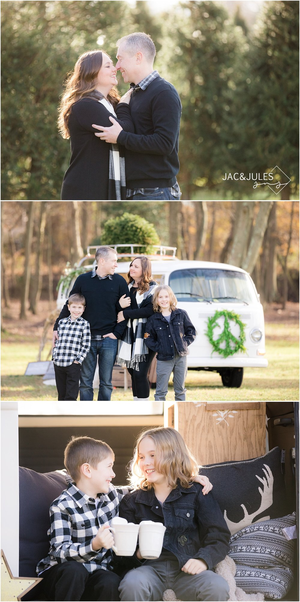 family pictures at a tree farm with a vw bus