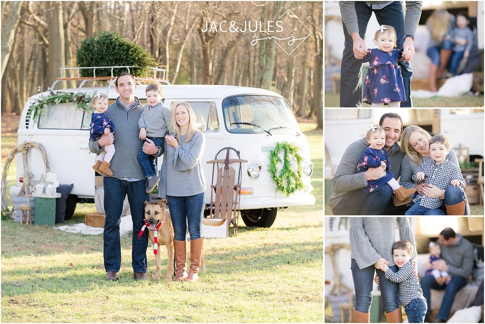 family photos or christmas with a dog at a tree farm in howell nj