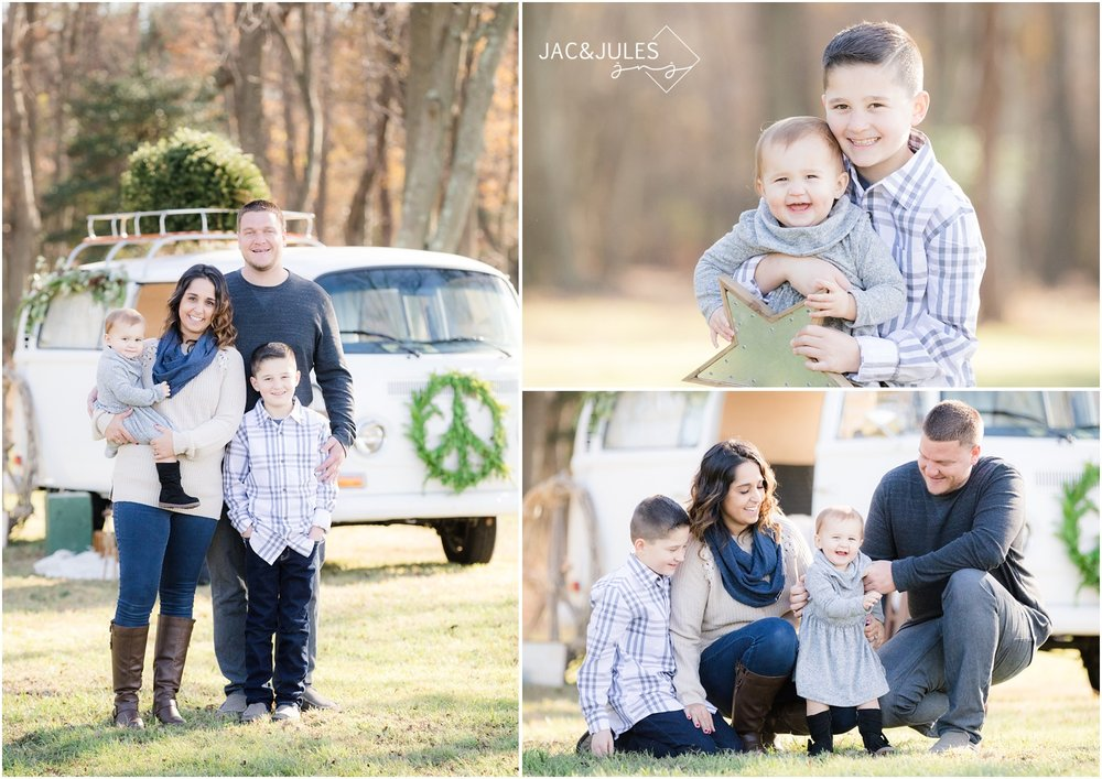 Styled family holiday photos with dog at Patterson Greenhouse Christmas tree farm in Freehold, NJ.