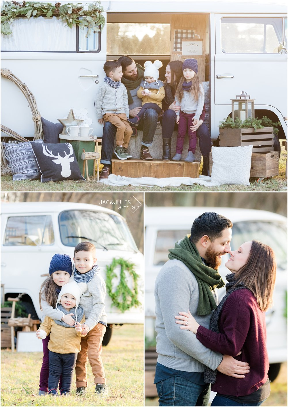Stylish family holiday photos with VW Booth Bus at Patterson Greenhouse Christmas tree farm in Freehold, NJ.