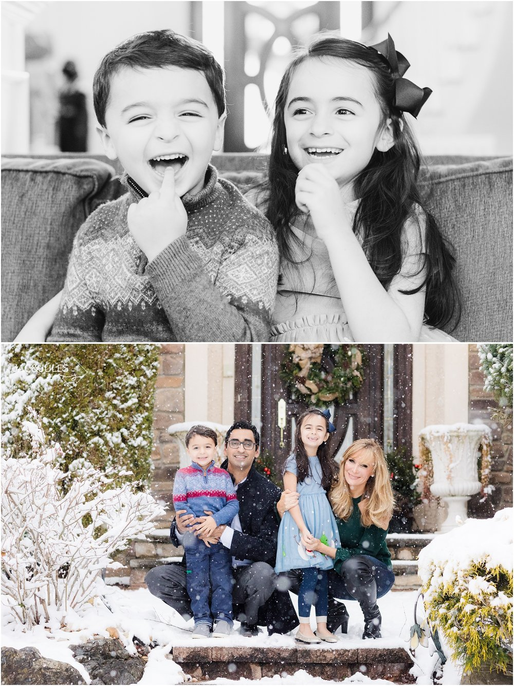 Fun family photos in the snow at home in Marlboro, NJ.