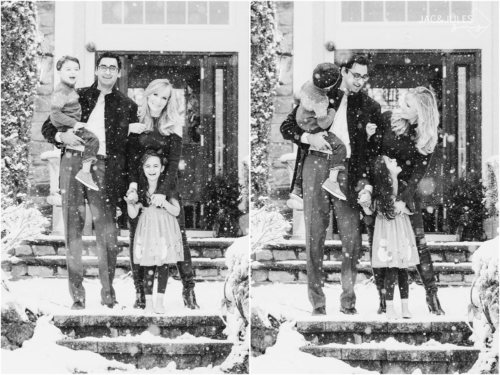 Fun family holiday card photos in the snow at home in Marlboro, NJ.