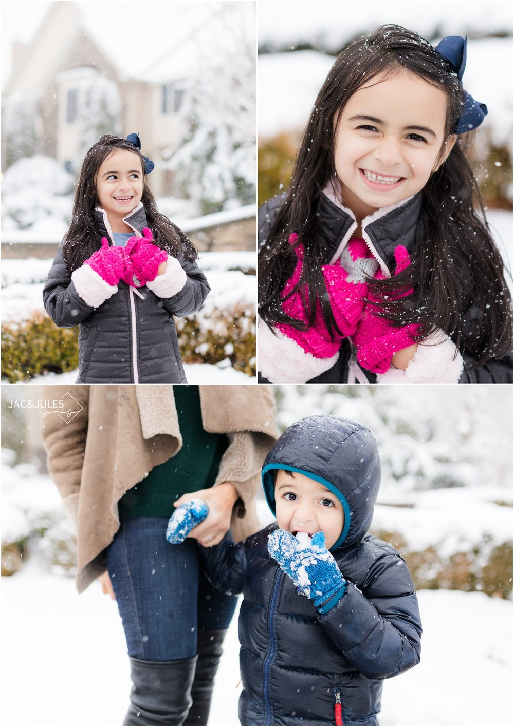 family portraits in the snow in Marlboro, NJ.