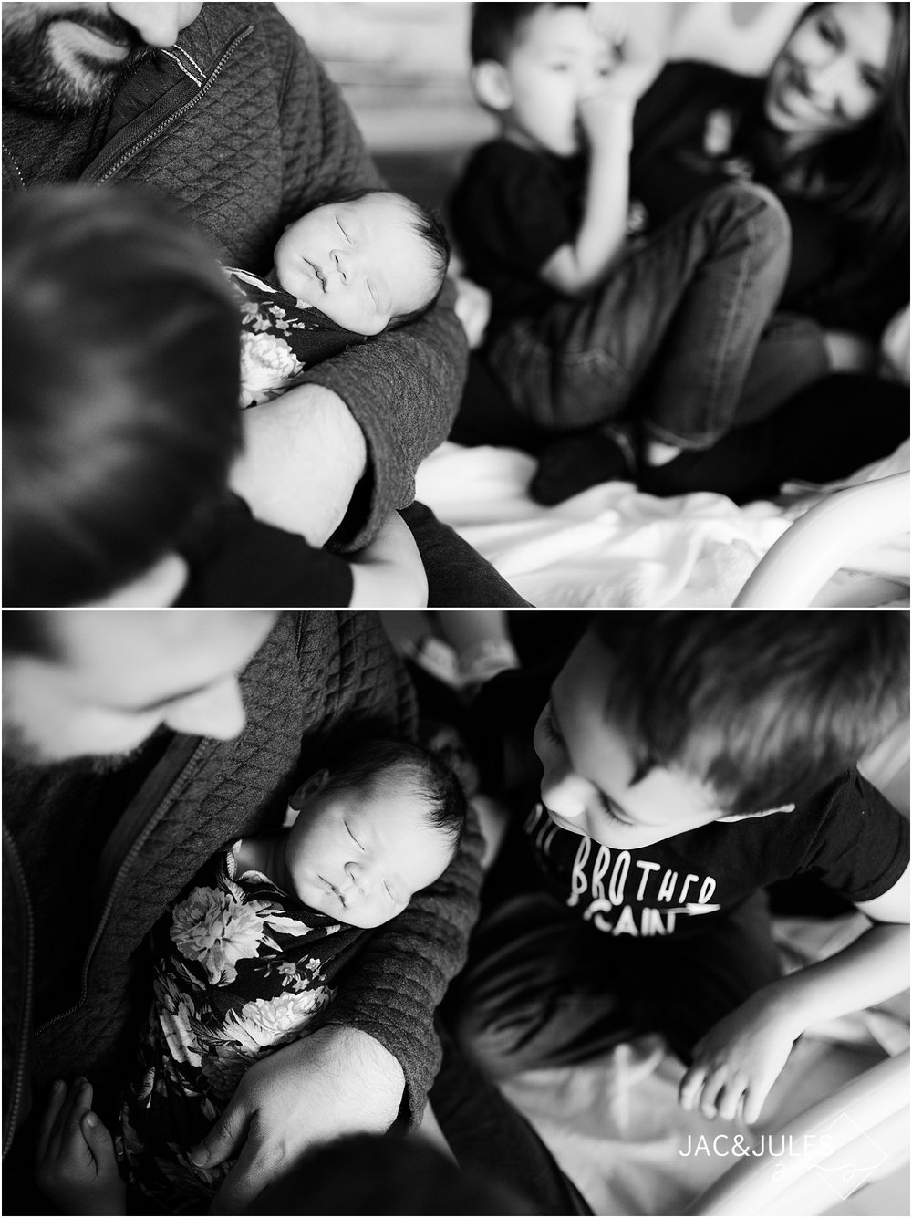 candid family photos with a new baby