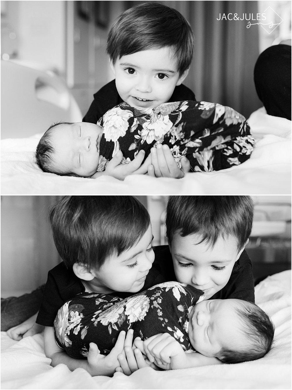 natural baby and sibling photo