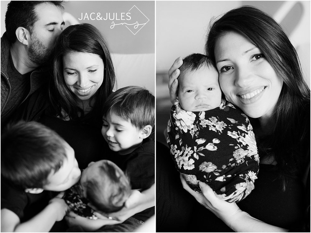 family photos with newborn in nj hospital