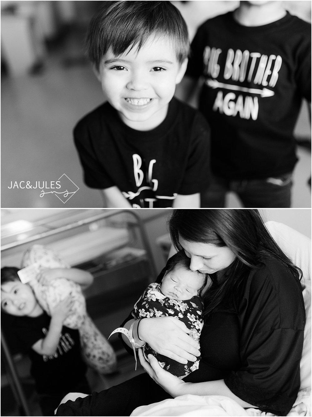 black and white photos of newborn baby and family