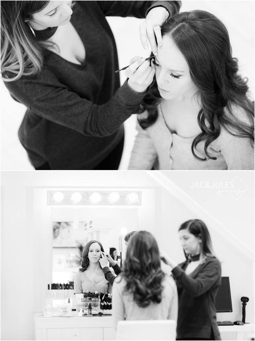 bride getting ready at Dieci Salon in Livingston NJ