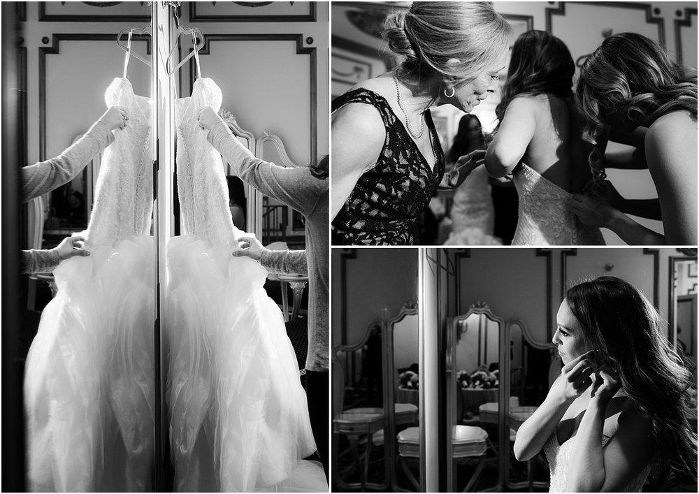 bride gets dressed at Crystal Plaza