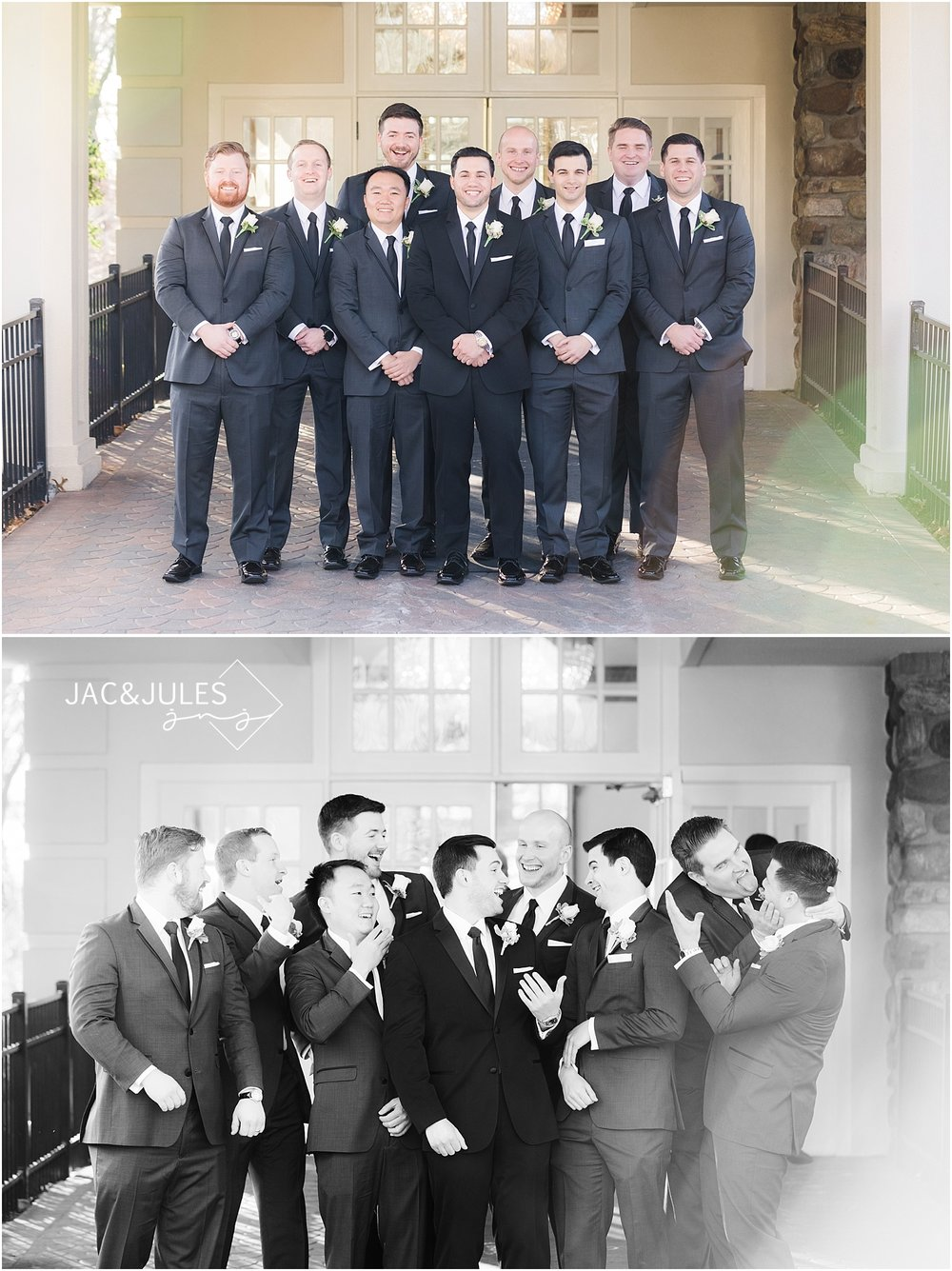 groomsmen photos at crystal plaza