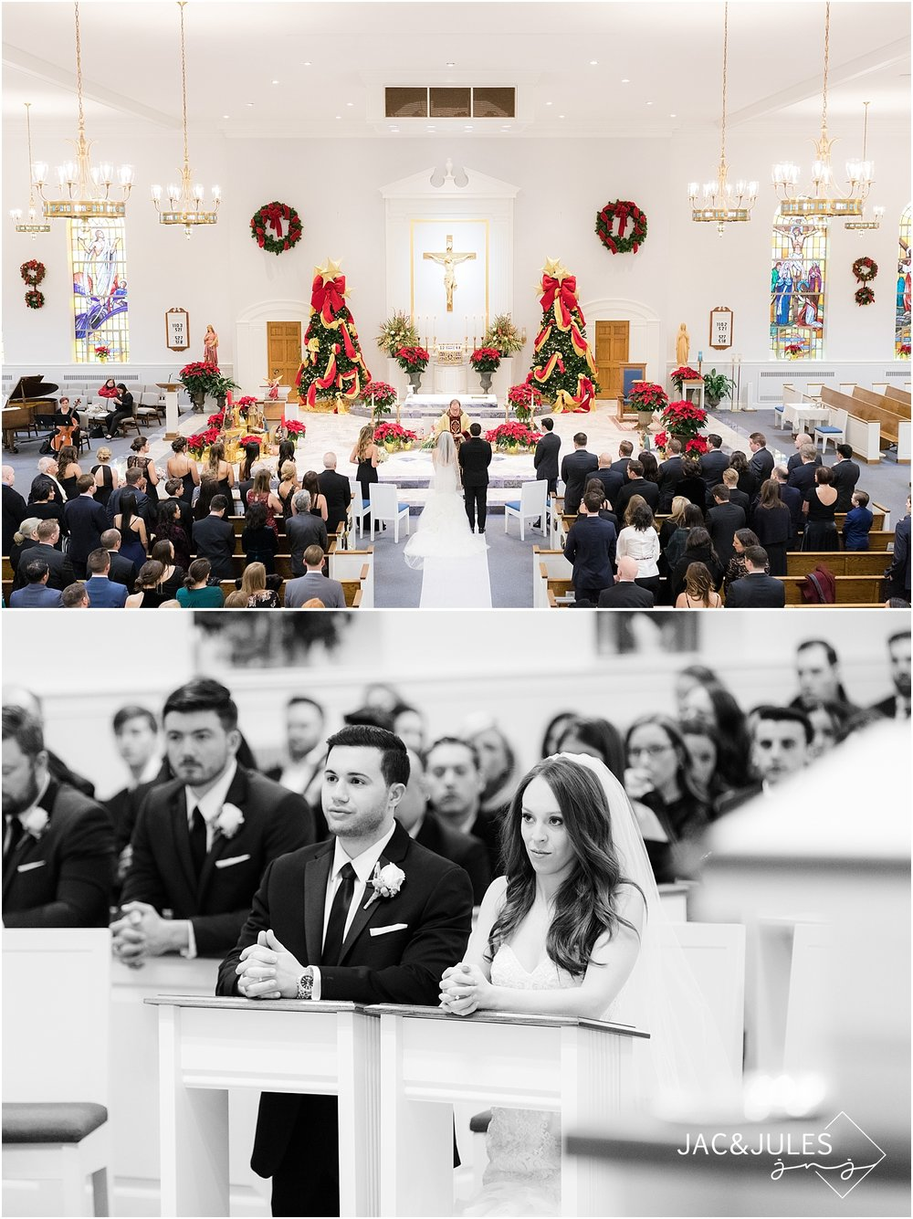 beautiful wedding ceremony at st. philomena church in livingston nj