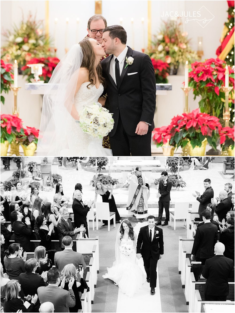 beautiful wedding ceremony at christmas at st. philomena church in livingston nj