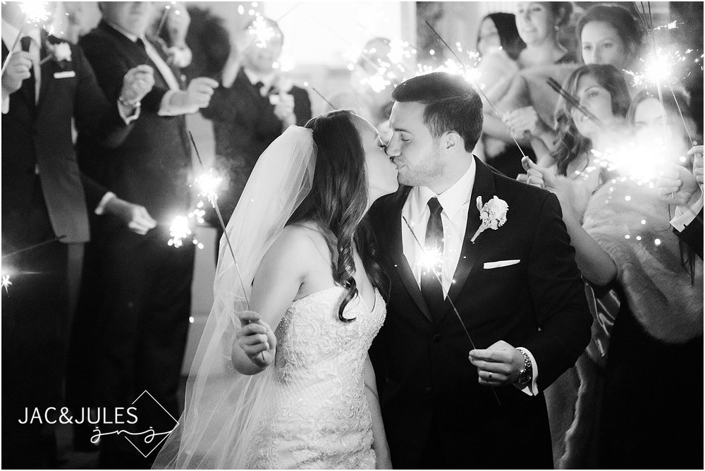sparkler exit at a wedding in livingston nj