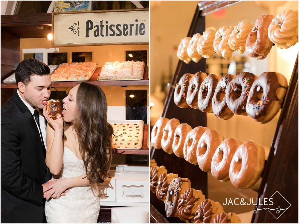 bakery with donuts at wedding reception