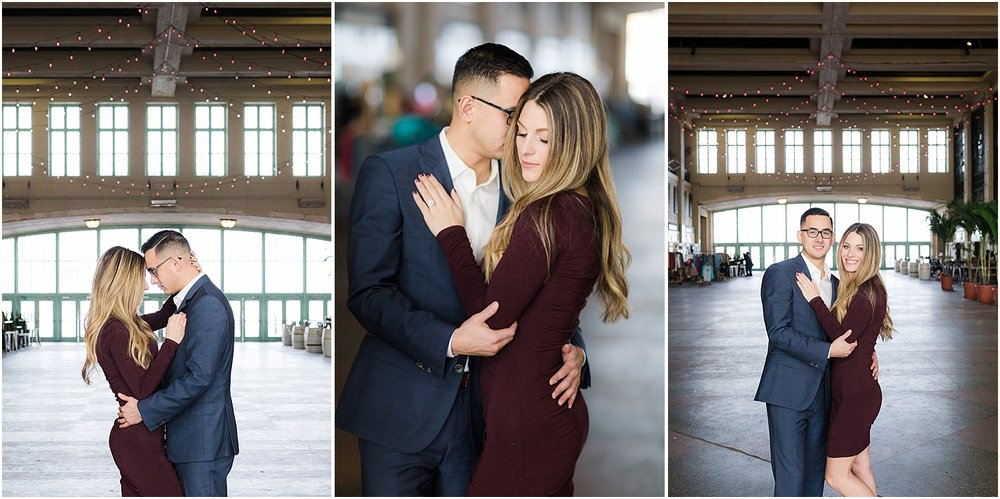 classy engagement photo inside convention hall asbury park