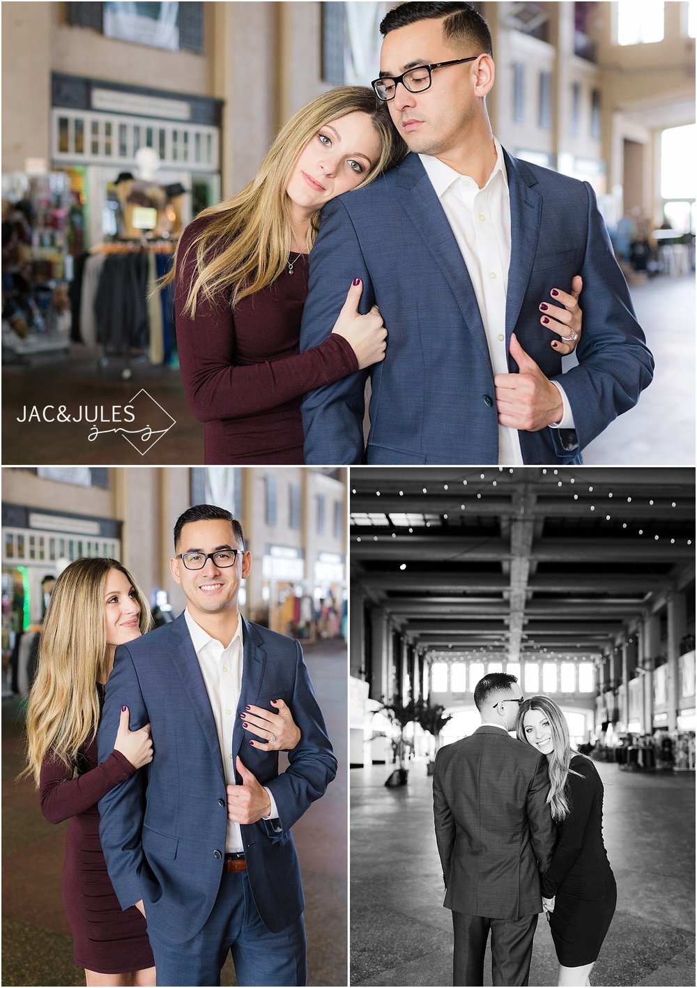 high end engagement photo at convention hall asbury park nj