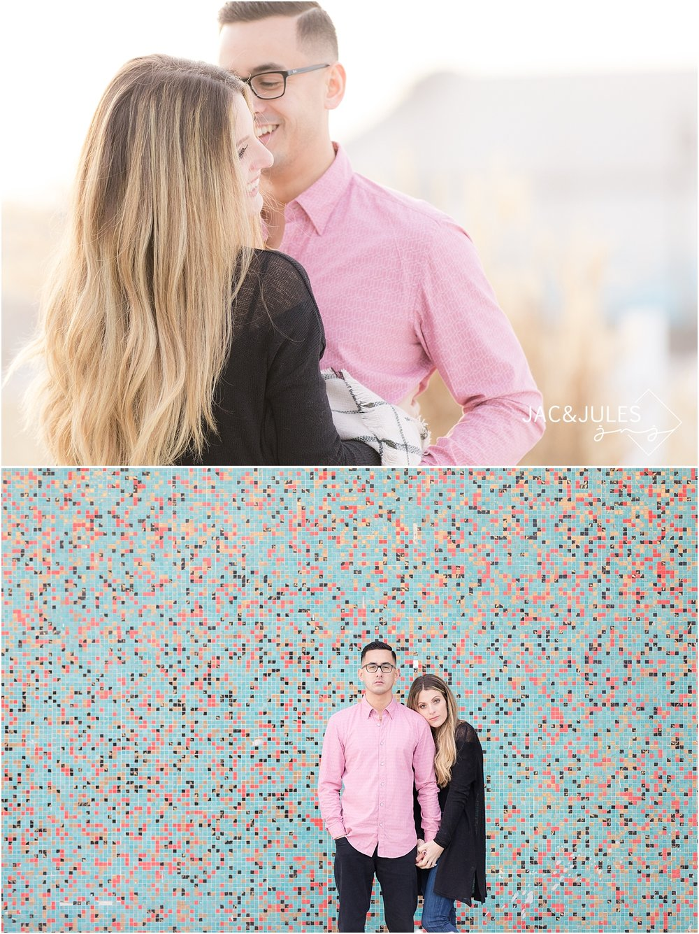 asbury park engagement photo by the mosaic wall