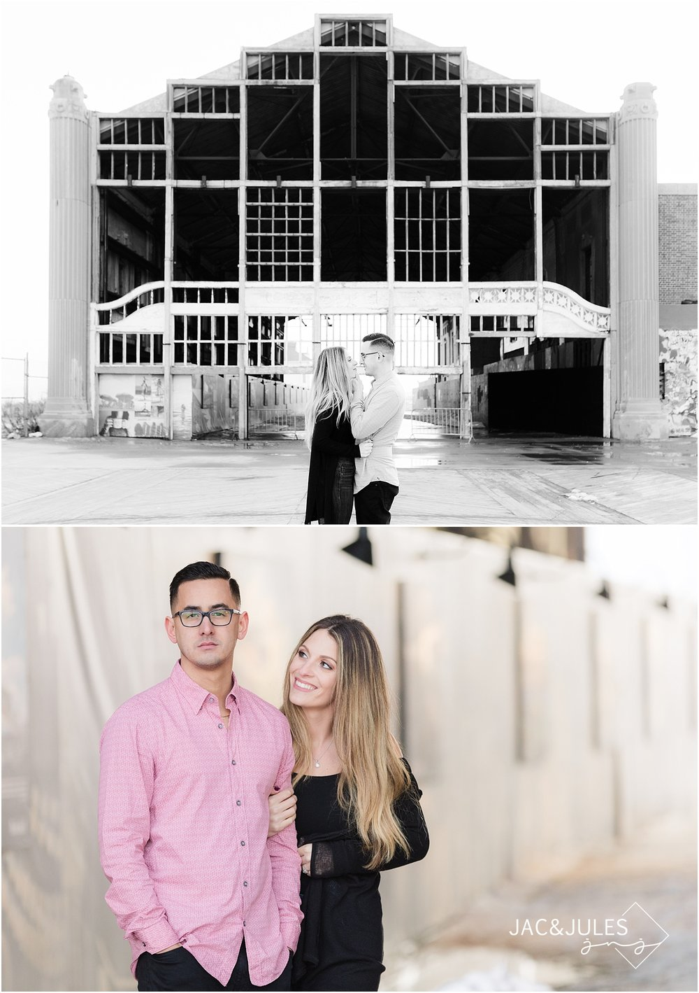 engagement photo at the old casino in asbury park