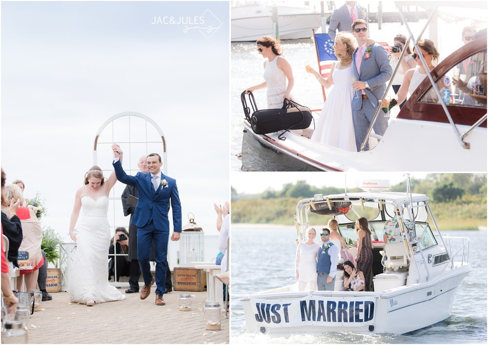 Behind the scenes photos of Jac&Jules photographing wedding ceremony exits on boats and the beach.