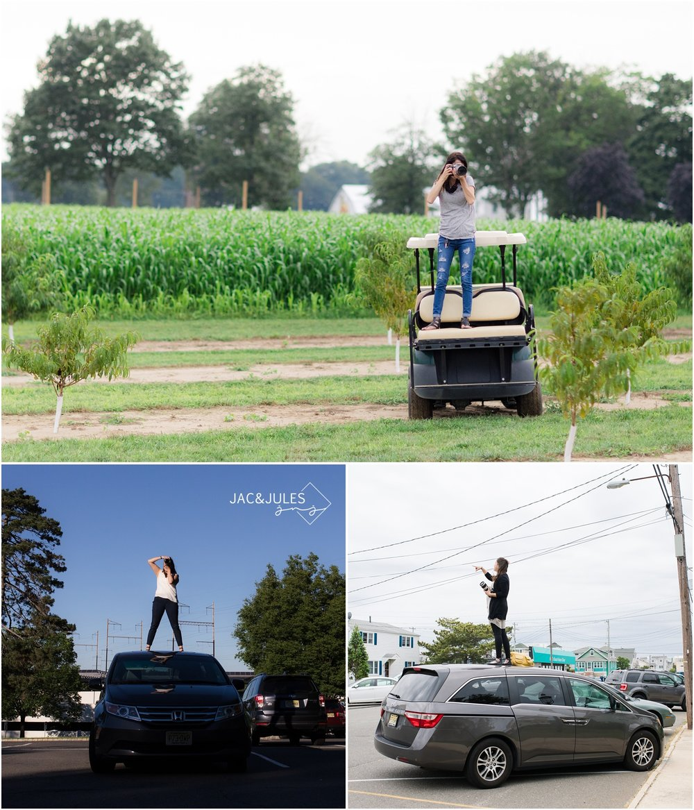 Jac&Jules use golf carts and cars to get a little taller while photographing weddings and engagement sessions in central Jersey.