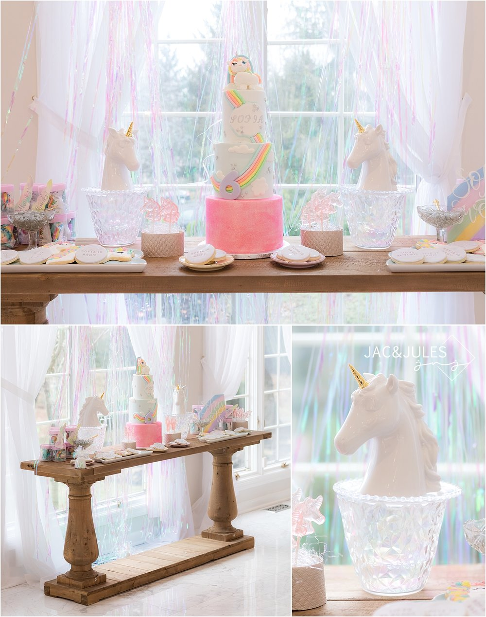 rainbow unicorn birthday cake decor