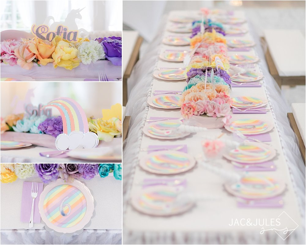rainbow unicorn birthday kids party table