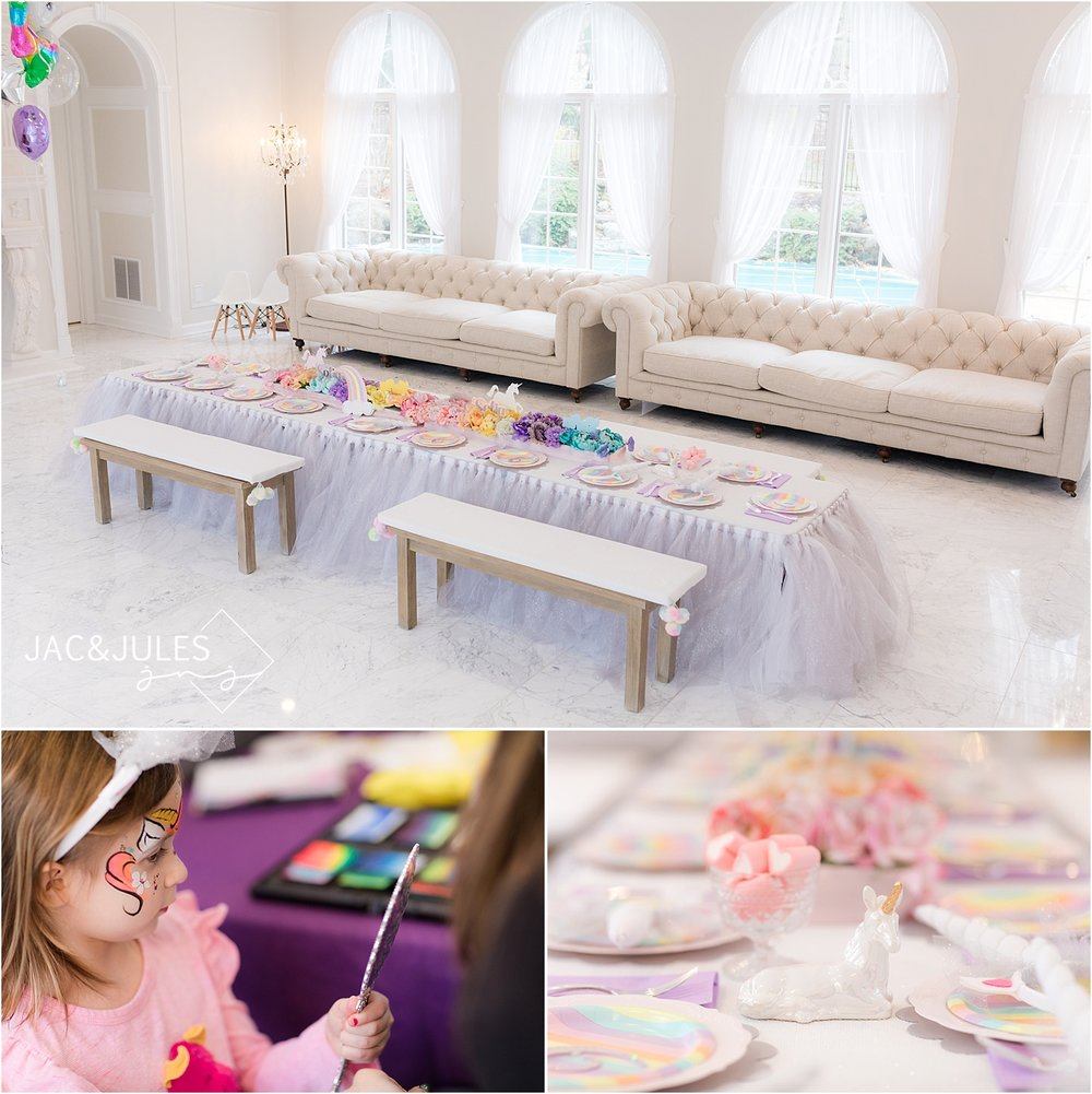 rainbow unicorn birthday party kids table decor