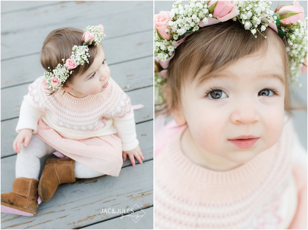 First birthday girl with flower crown.