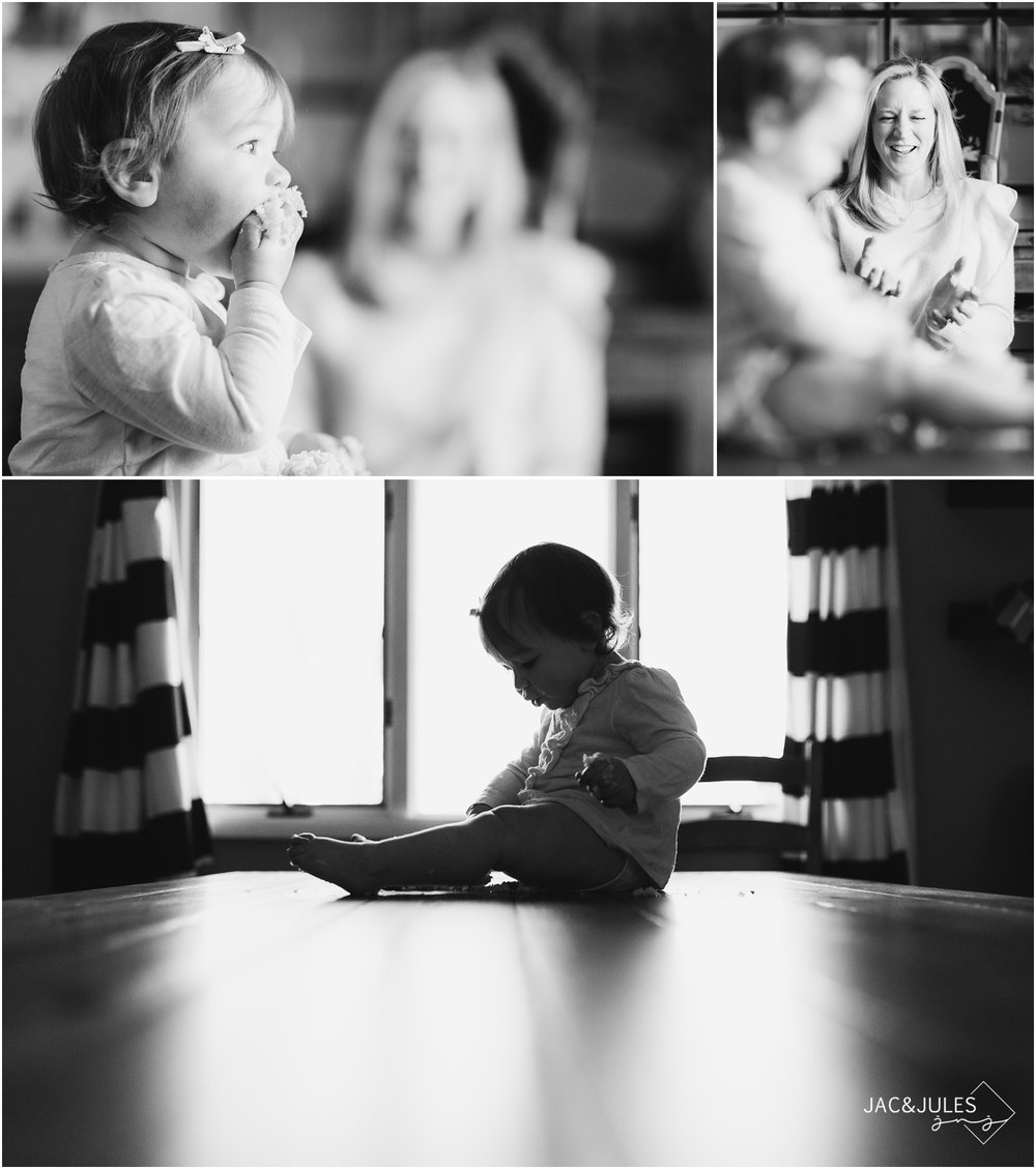 artistic creative black and white photos of one year old and mom during first birthday cake smash