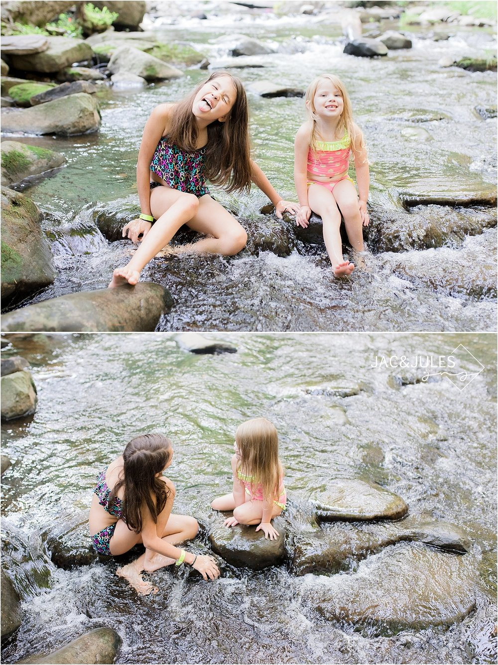 kids playing in the stream at kittatinny campground
