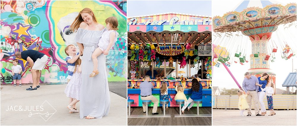 Fun family photo at the Jersey Shore boardwalks in Asbury Park and Point Pleasant NJ