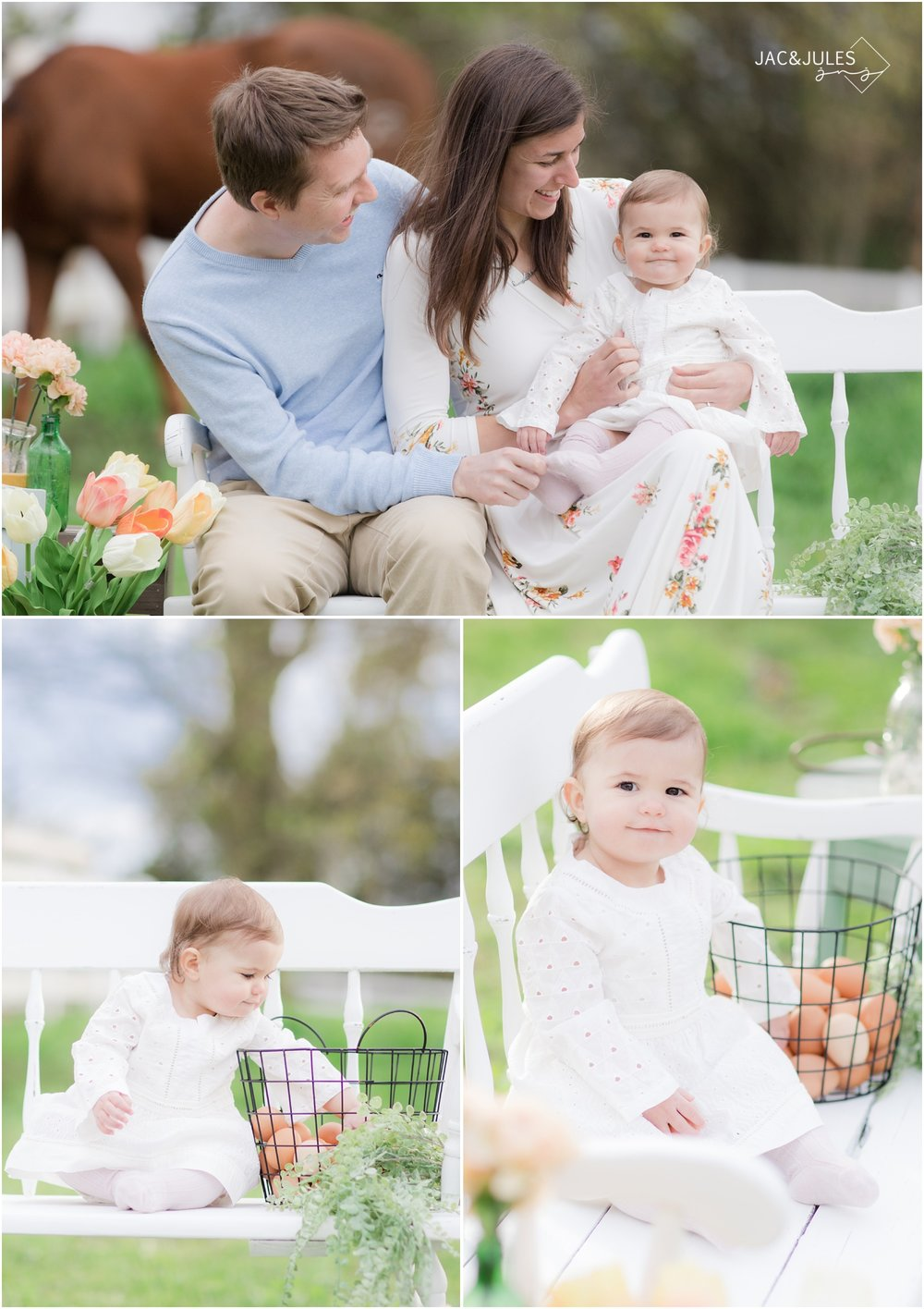 sweet baby girl at styled farm photo session with farm fresh eggs.