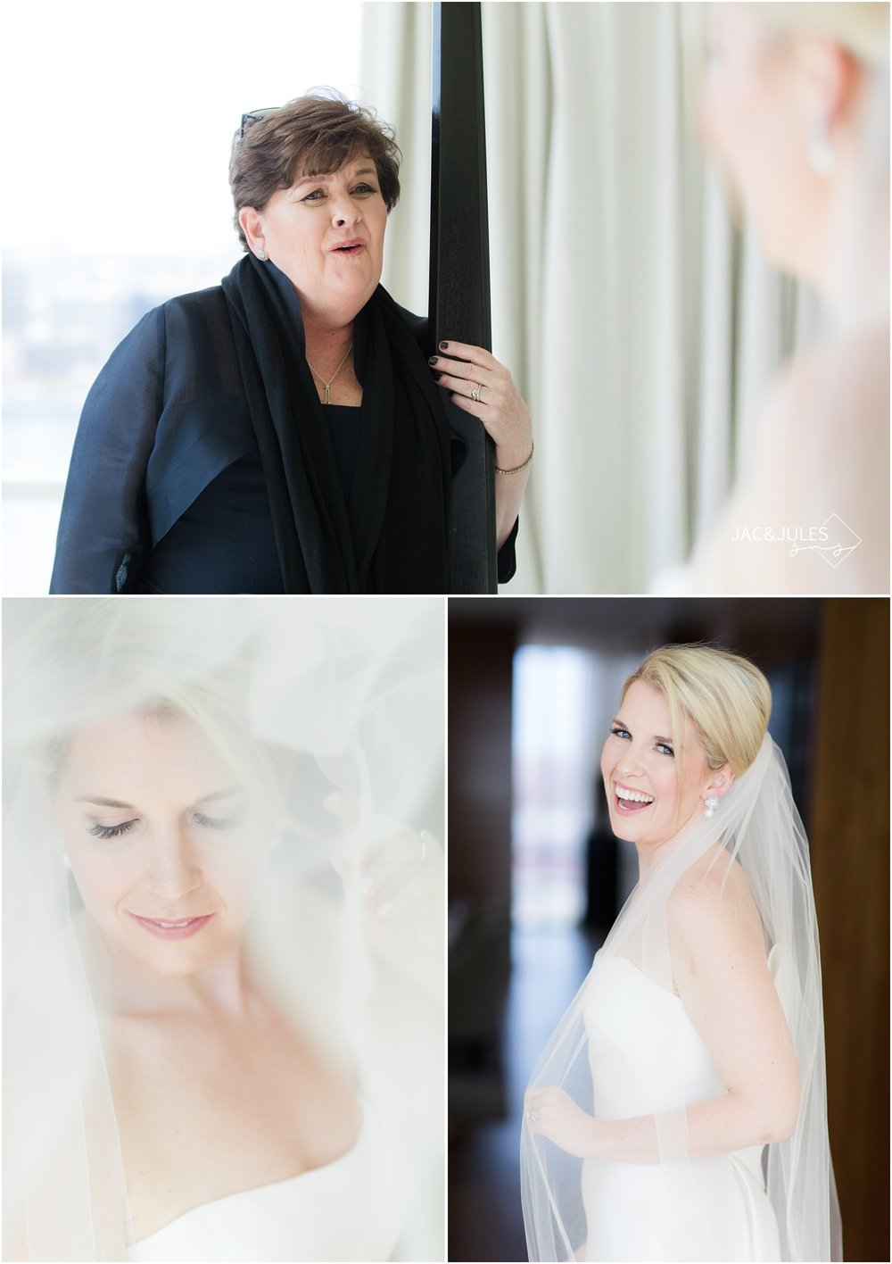Mom sees bride in her gown and gorgeous bridal portraits at The Four Seasons Hotel in Baltimore, MD.