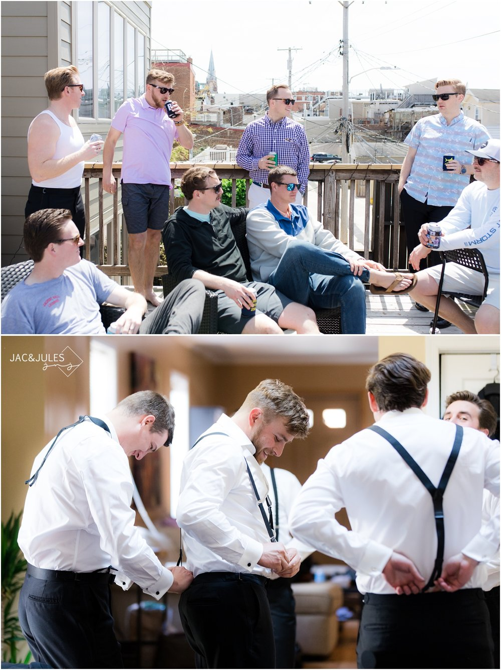 Groomsmen hanging on the deck before a wedding in Baltimore, MD.