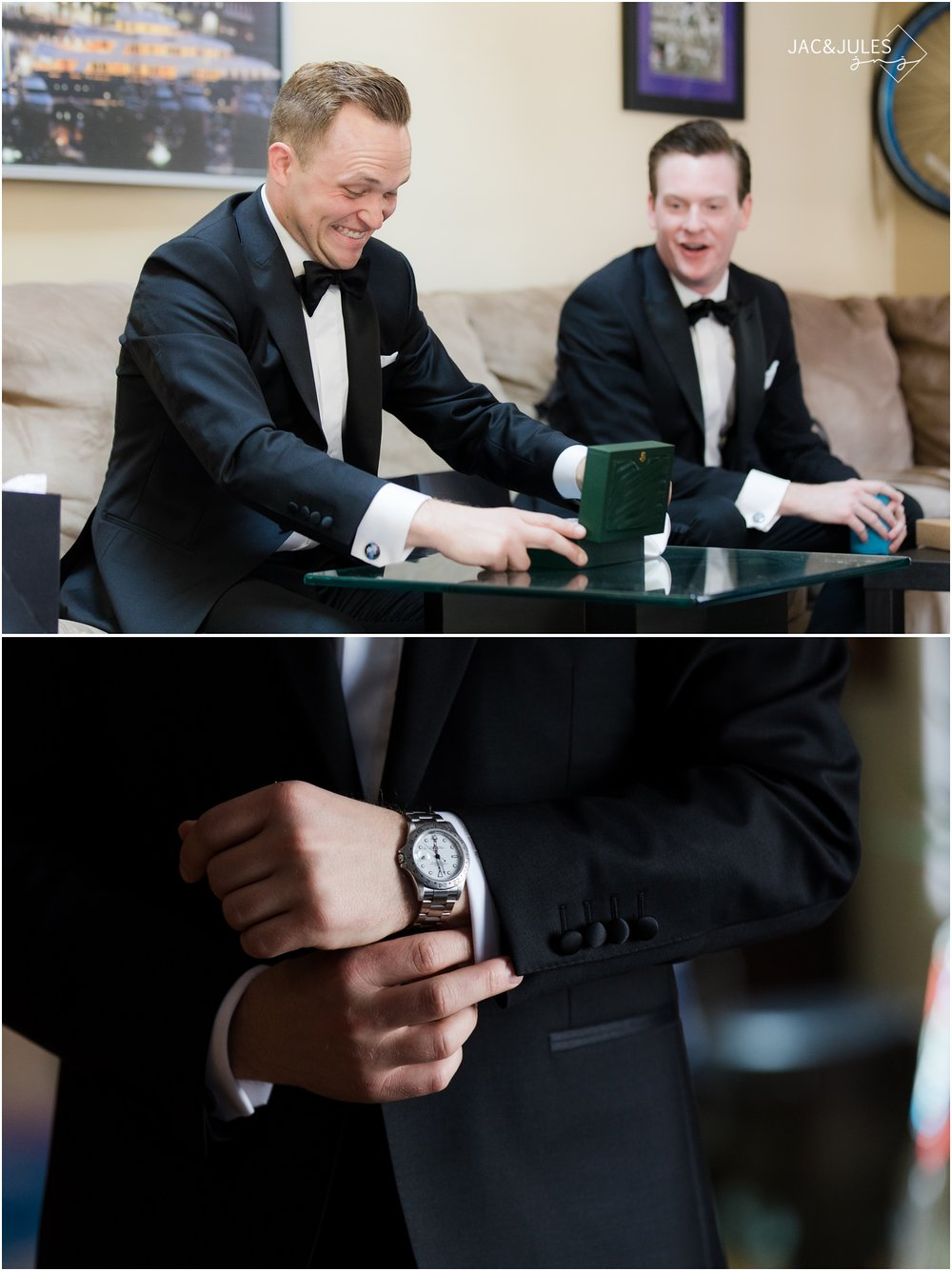 Groom is shocked by gift of watch from bride.