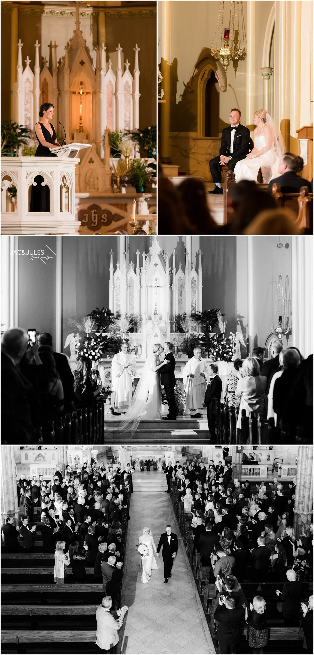 Wedding ceremony at Holy Cross Church in Baltimore, MD.