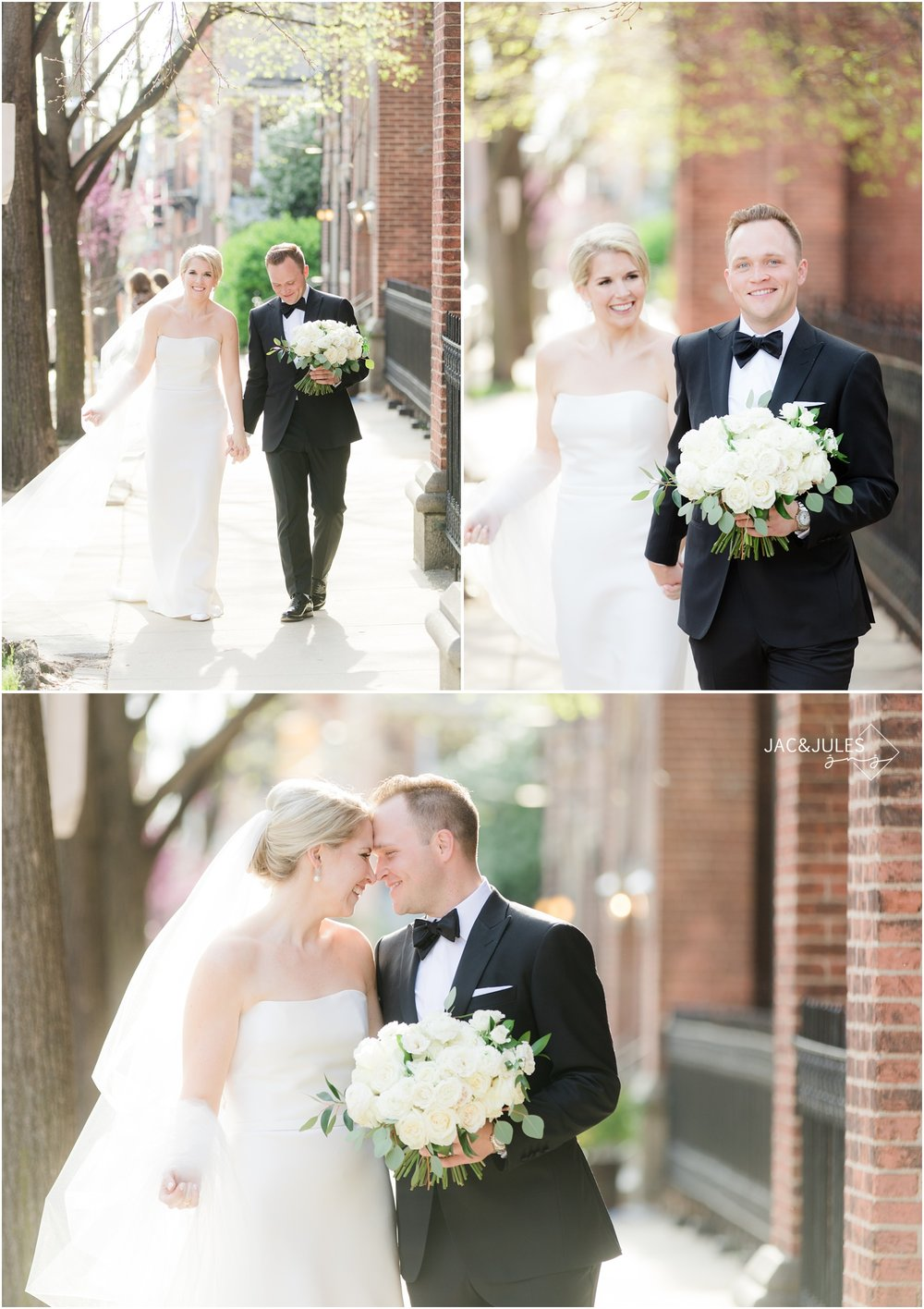 Bride and groom leaving Holy Cross Church in Baltimore Maryland.