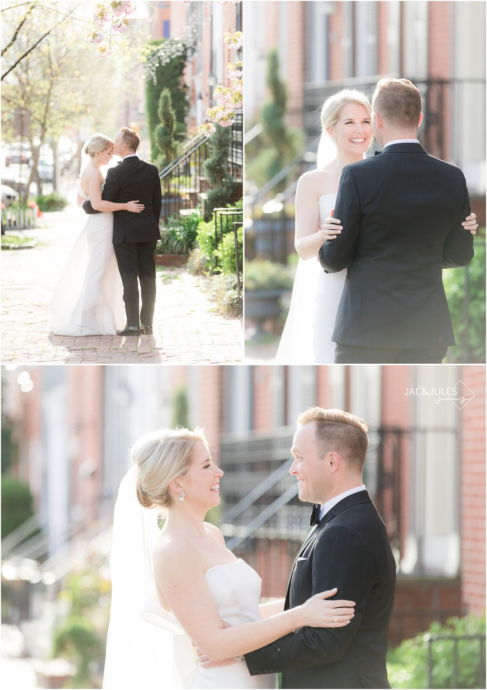 Dreamy wedding portraits on a street in downtown Baltimore, MD.
